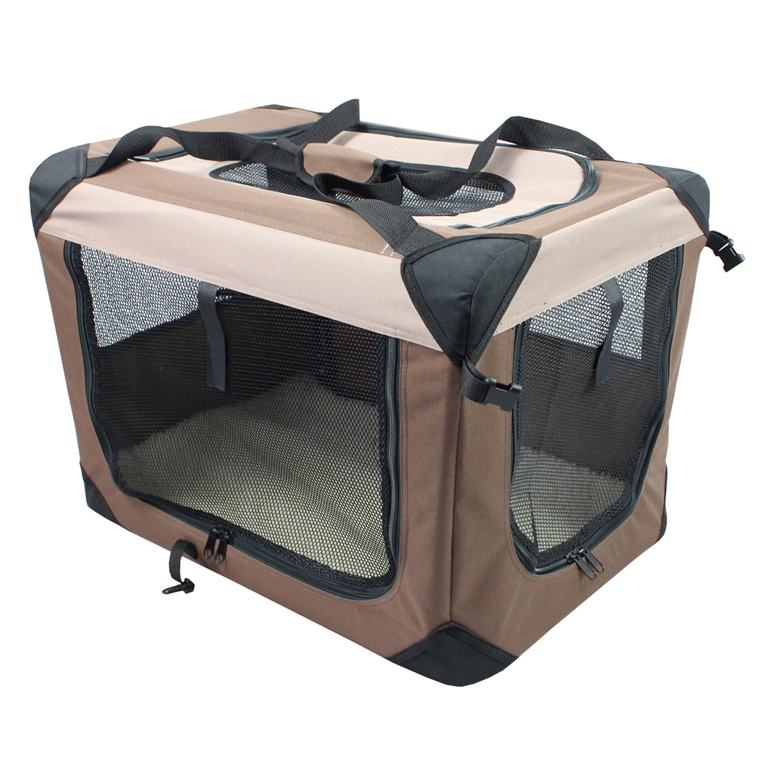 Iconic Pet Multipurpose Pet Soft Crate with Fleece Mat, Coffee/Khaki, Small