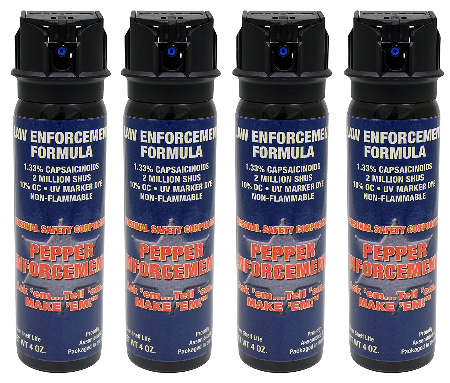 Pepper Enforcement Pack of 4 4 oz. Splatter Stream Police Strength 10 OC Flip Top Spray – Professional Grade Emergency Self Defense Non Lethal Weapon for Personal Protection and Safety