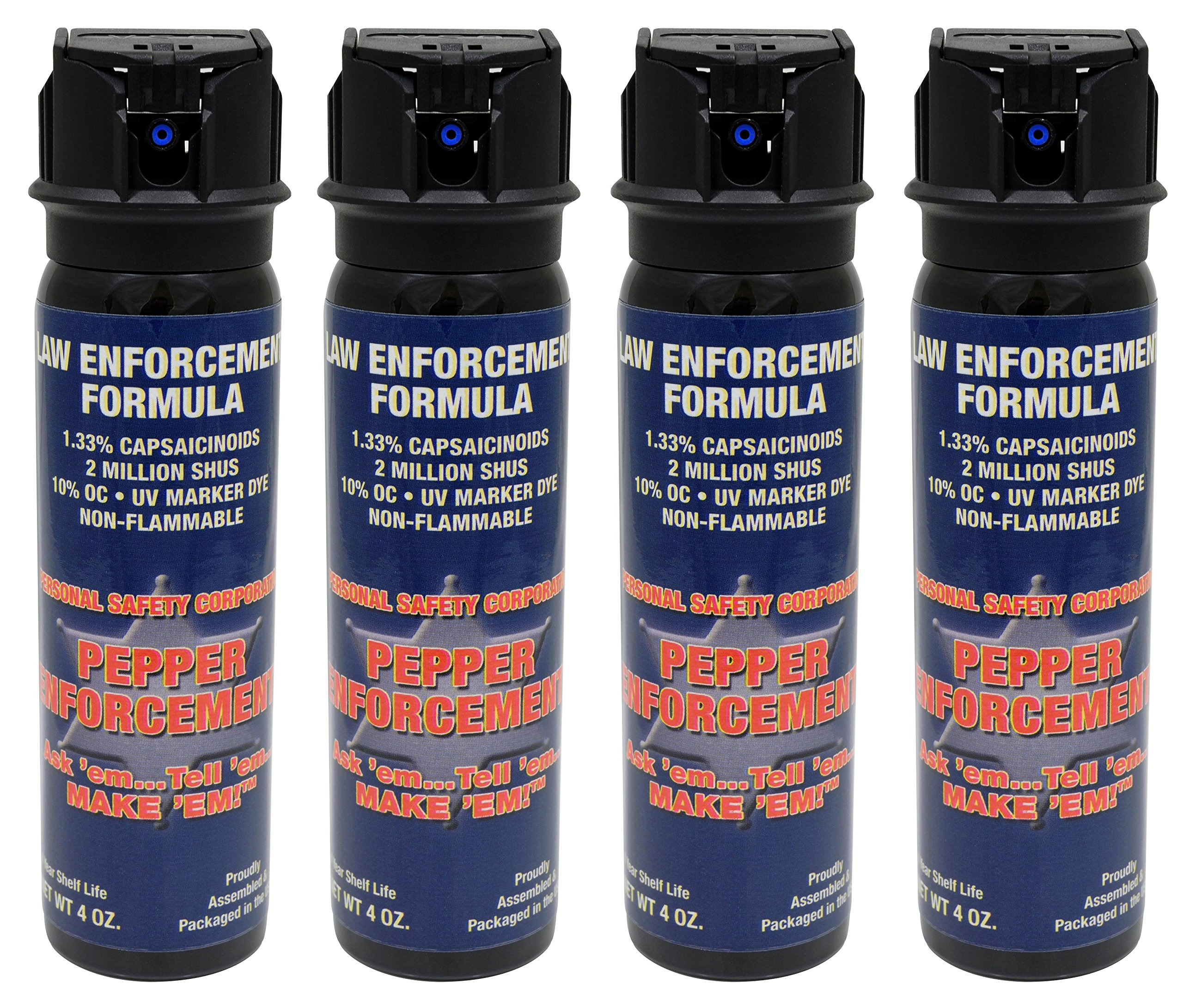 Pepper Enforcement (Pack of 4 4 oz. Splatter Stream Police Strength 10% OC Flip Top Spray - Professional Grade Emergency Self Defense Non Lethal Weapon for Personal Protection and Safety by Pepper Enforcement