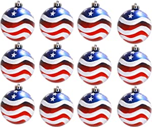 Geek-M 12PCS Stars & Stripes Christmastree Ball Ornaments 80mm Patriotic Ball Hanging Independence Day Party Decor Holiday Wedding Tree Decorations