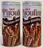 Cream De Pirouline Chocolate Hazelnut Artisan Rolled Wafers 3.25oz - 2 Tins