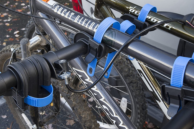 Heininger 2256 Black Advantage SportsRack Glide Away Elite Four Bike Rack with Bonus HitchMate QuickCinch Straps Cable Hitch Lock