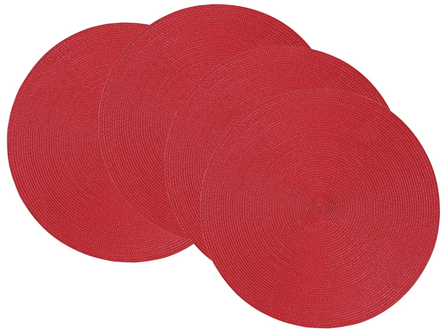 Now Designs Disko Round Placemats, Set of Four, Black 1780500aa