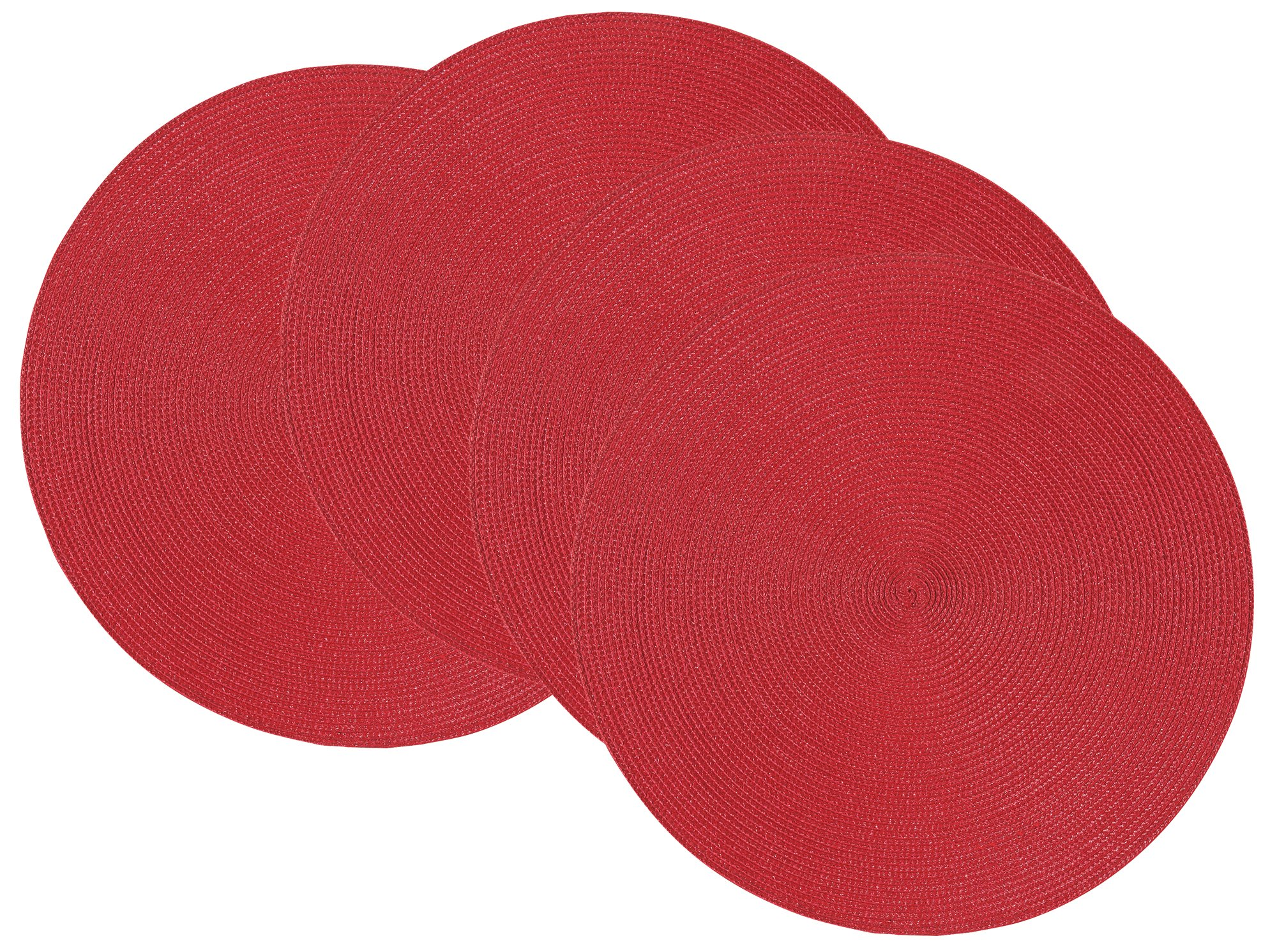 Now Designs Disko Round Placemats, Set of Four, Chili Red