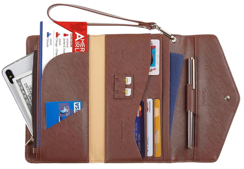 Casmonal Multi-purpose Travel Wallet Passport Holder Cover Case Wallet Wristlet Document Organizer CH Greenery Gold
