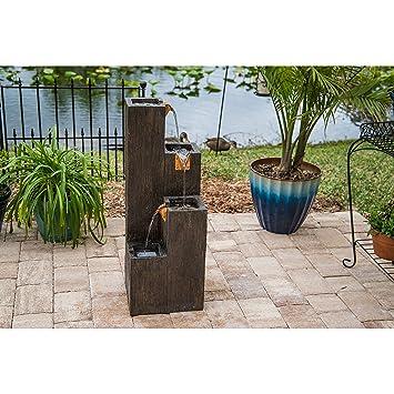 Amazon Com Design Craft Tlaloc Indoor Outdoor Floor Fountain Wood
