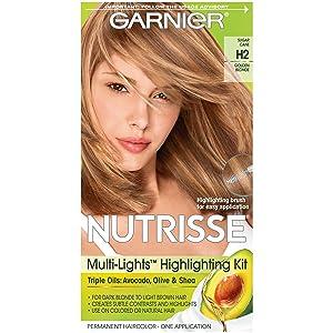Garnier Nutrisse Nourishing Hair Color Creme, H2 Golden Blonde (Packaging May Vary)