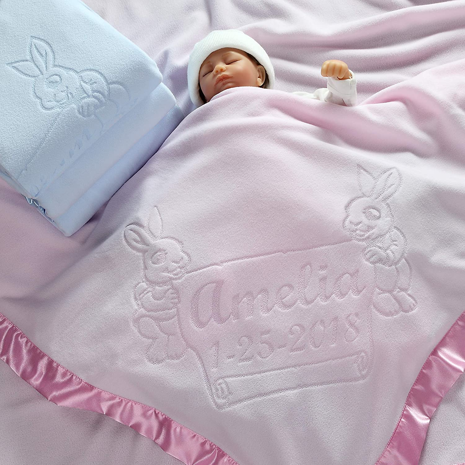 PERSONALISED BABY BLANKET BIRTH DETAILS EMBROIDERED NEW BABY BOY//GIRL GIFT
