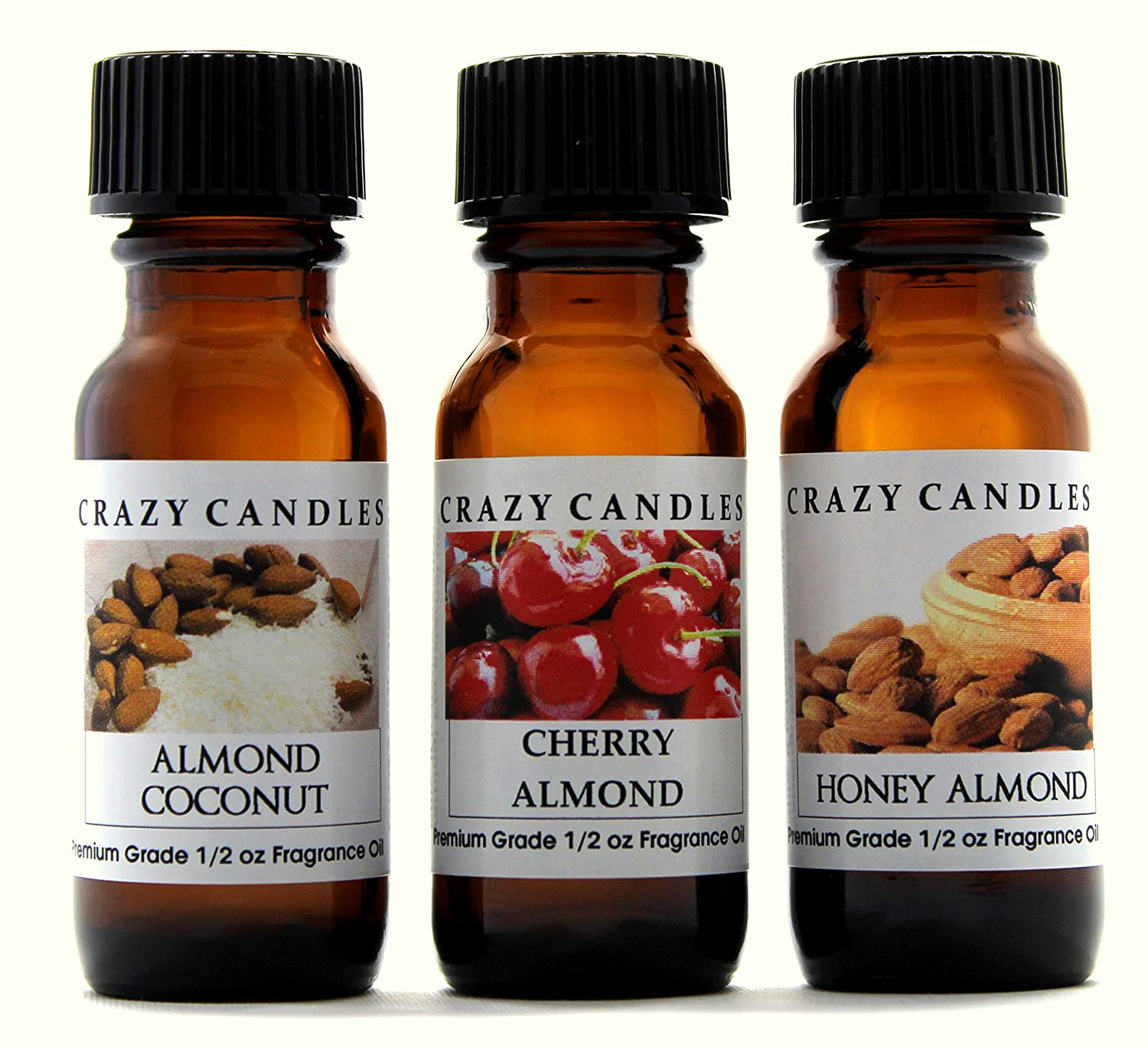 Crazy Candles 3 Bottle Set (Made in USA) 1 Almond Coconut, 1 Cherry Almond, 1 Honey Almond 1/2 Fl Oz Each (15ml) Premium Grade Scented Fragrance Oils