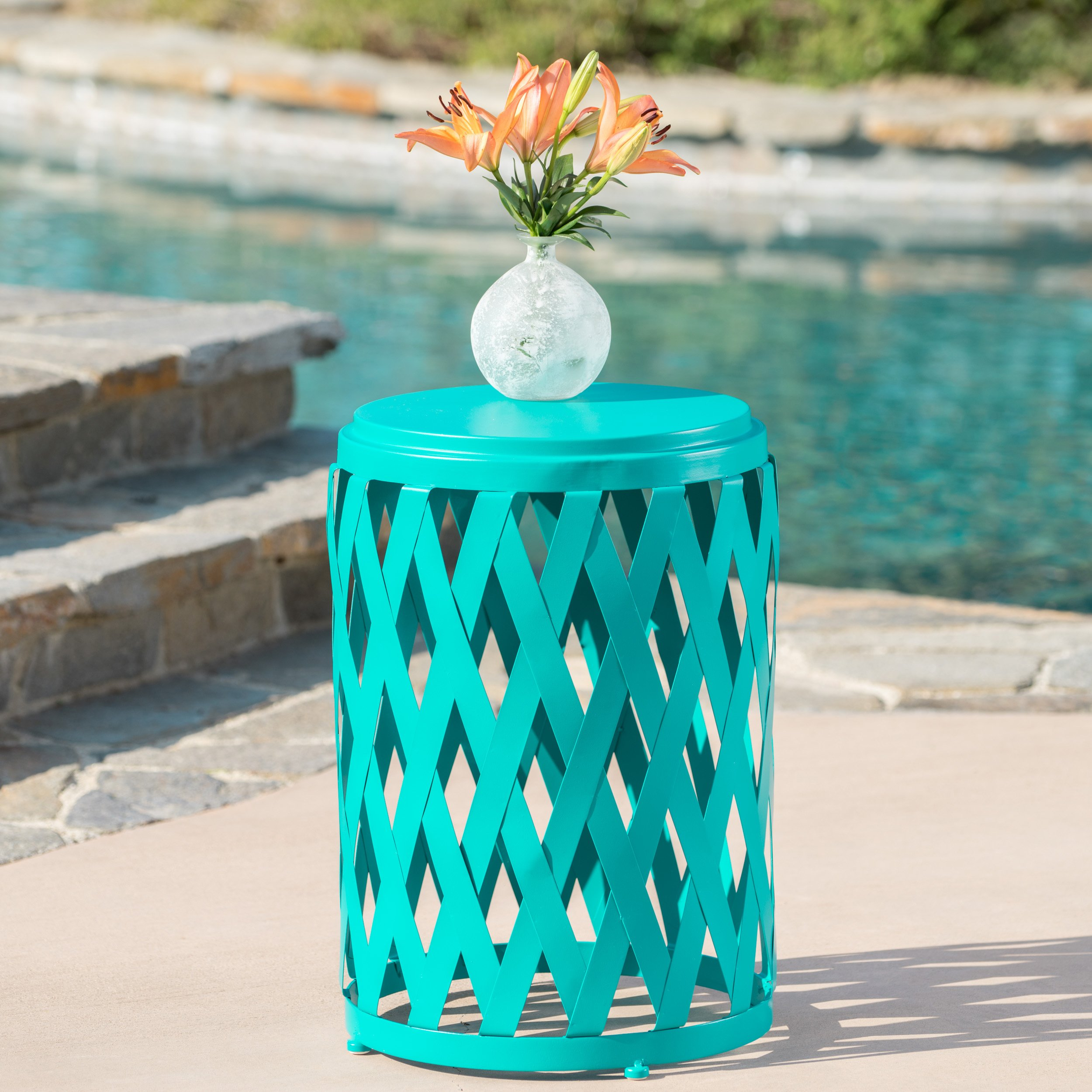 Christopher Knight Home Ellen Outdoor Iron Side Table (12 Inch or 14 Inch Diameter) (14 Inch Diameter, Matte Teal)