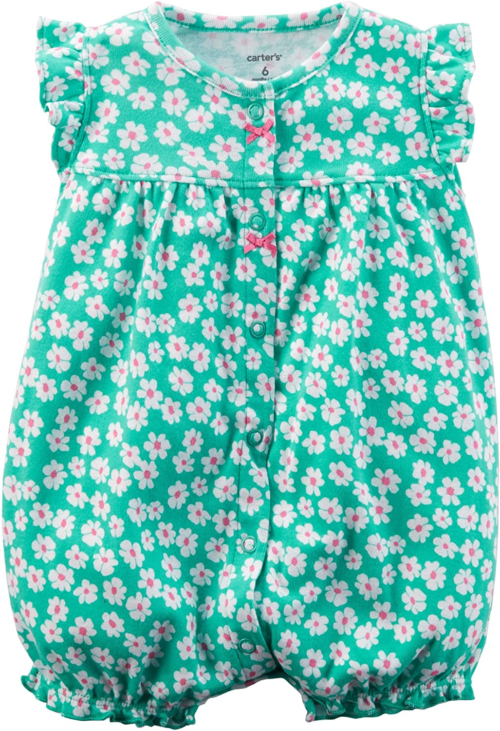 Carters Baby Girls Floral Ruffle Bottom Snap-Up Romper 18 Months Turquoise Green Multi