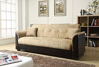 nhi express melanie futon sofa bed with storage brown amazon    nhi express melanie futon sofa bed with storage brown      rh   amazon