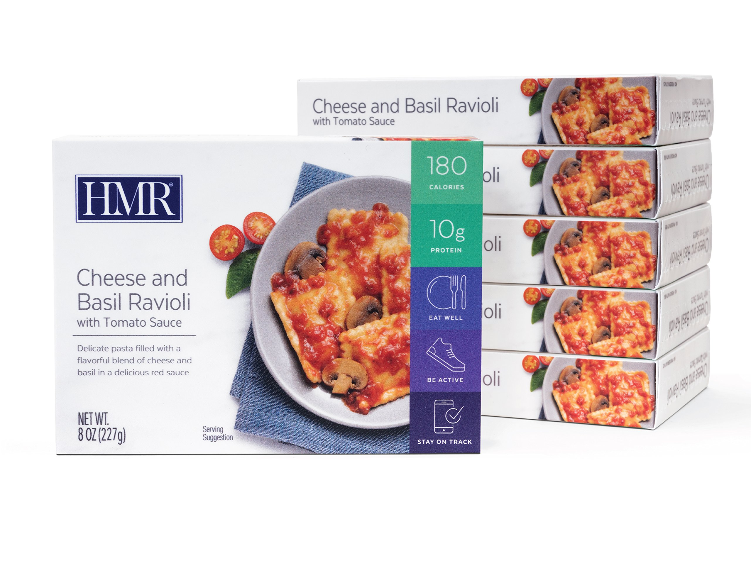 HMR Cheese and Basil Ravioli with Tomato Sauce Entree, 8 oz. Servings, 6 Count by HMR