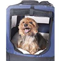 2PET Foldable Dog Crate - Soft, Easy to Fold & Carry Dog Crate for Indoor & Outdoor Use - Comfy Dog Home & Dog Travel Crate - Strong Steel Frame, Washable Fabric Cover, Frontal Zipper Small Blue