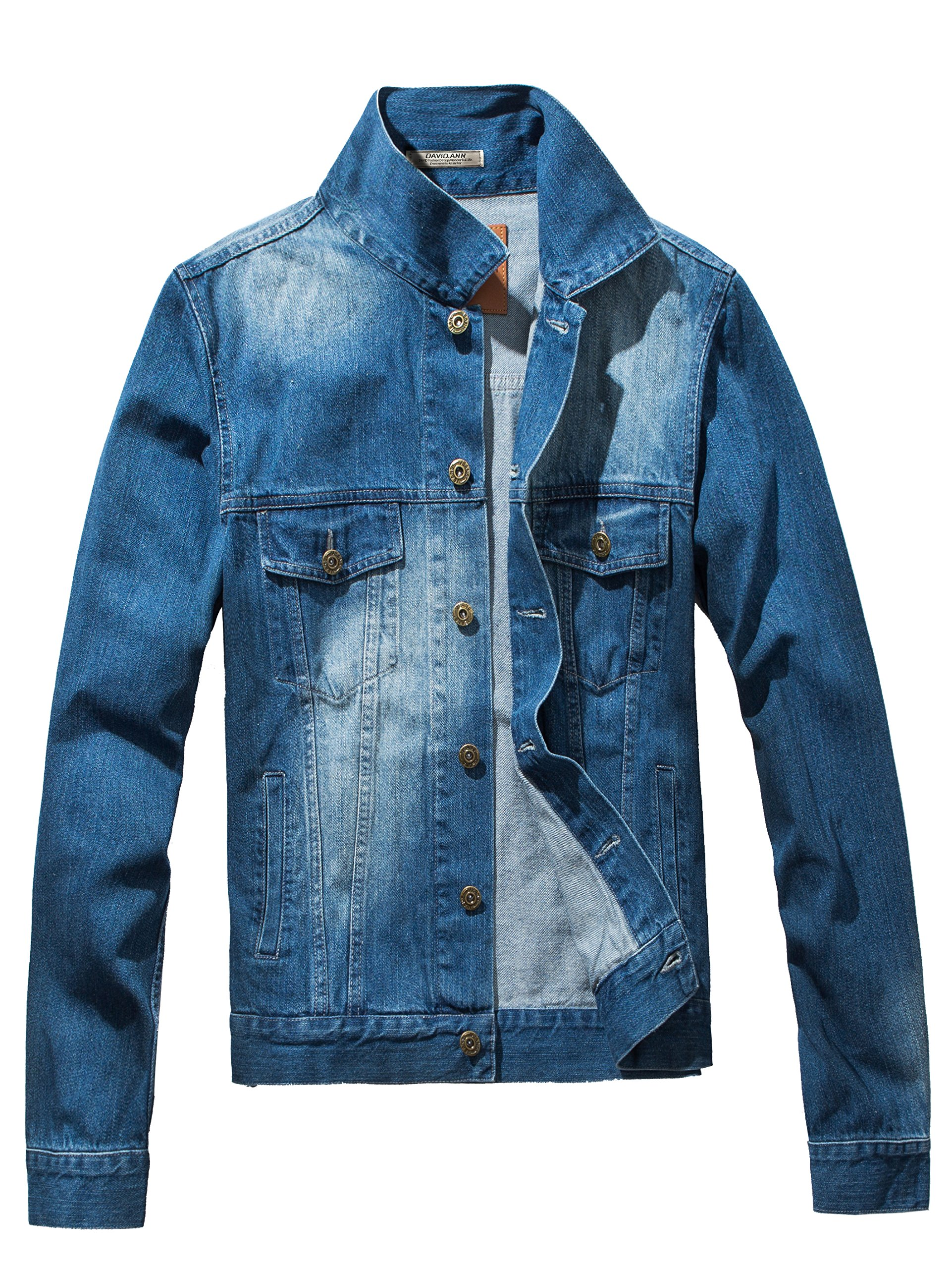 DAVID.ANN Men's Denim Jacket Slim Fit Trucker Coat,Light Blue,X-Large