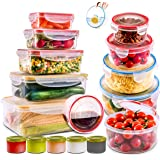 28 PCs Large Food Storage Containers with Airtight Lids-Freezer & Microwave Safe,BPA Free Plastic Meal Prep Containers…