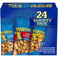 Planters Variety Pack 24 ct, Salted Peanuts, Honey Roasted Peanuts & Salted Cashews Ready-to-Go Sleeves, Multi-Pack Box