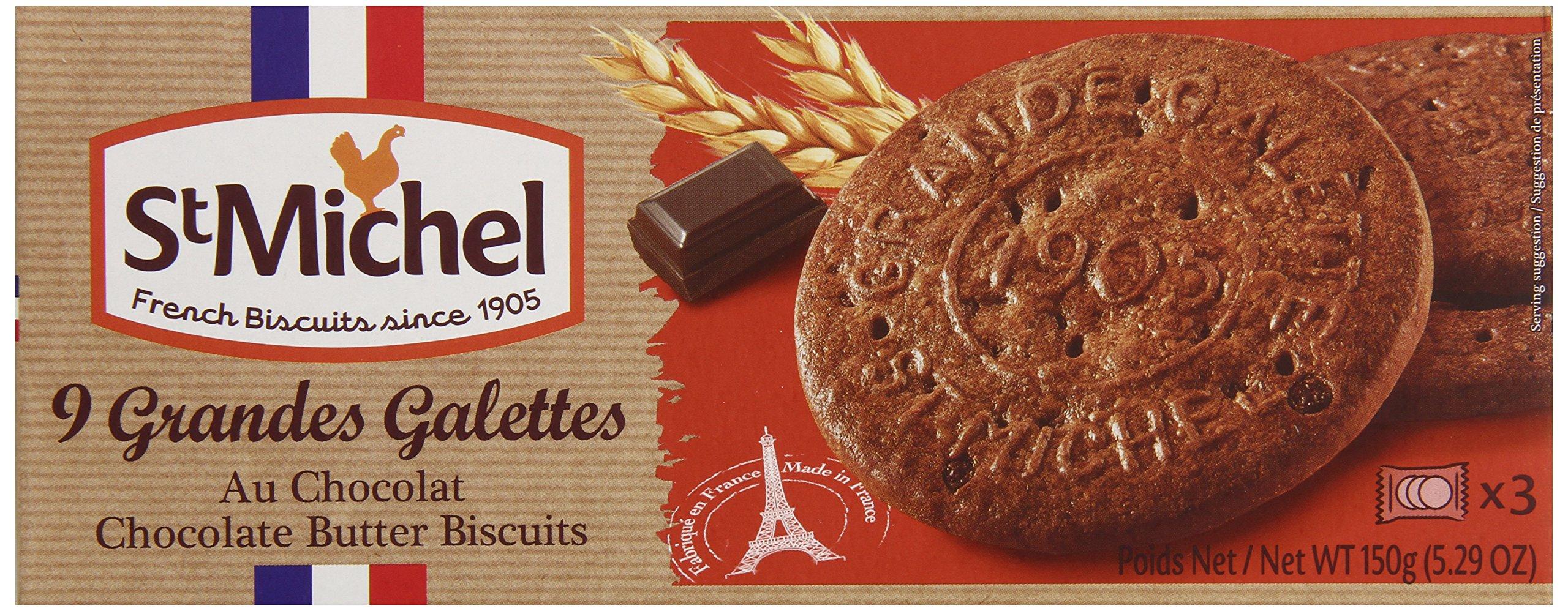 St Michel La Grande Galette Butter Cookies, Chocolate, 5.3 Ounce