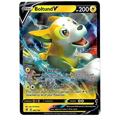 Boltund V 067/192 - Ultra Rare - Pokemon Sword and Shield Rebel Clash: Toys & Games