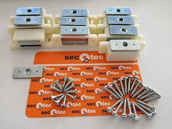 SECOTEC Magnetschnapper massiv 4 kg Gegenst/ück und Schrauben; 10 St/ück M/öbelschnapper inkl hochwertiger Kunststoff braun