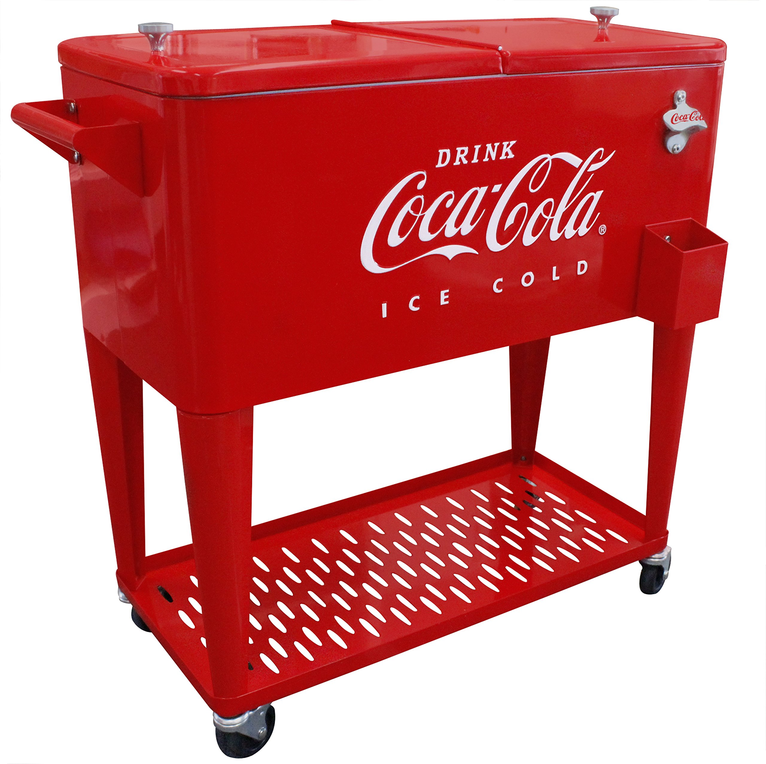 Leigh Country CP 98126 80 Qt. Coca Cola Cooler with Grated Tray, Red
