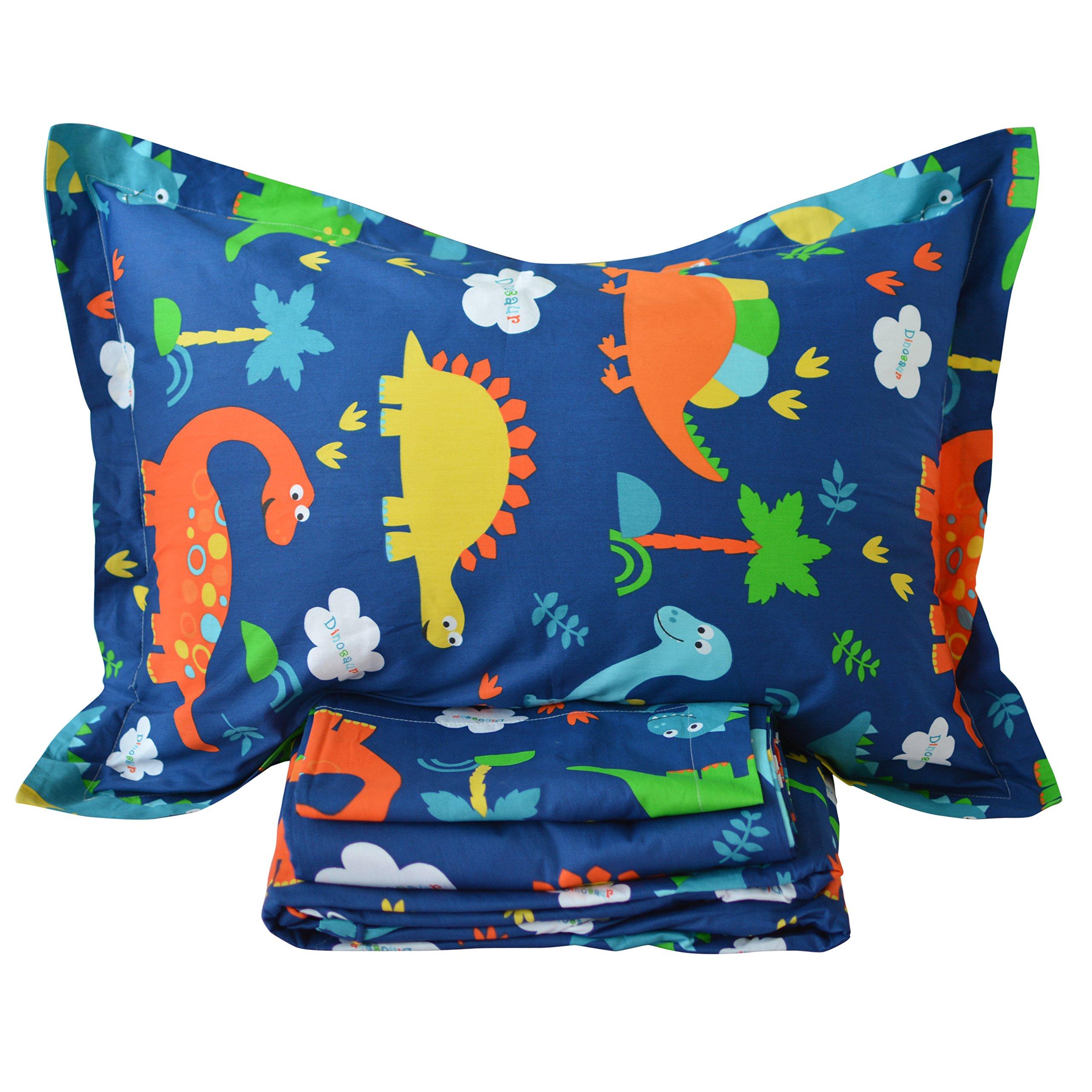 Brandream Soft Kids Boys Bedding Sets Blue Dinosaur Sheets Set 100% Cotton Bed Sheet Set-Fitted Sheet Flat Sheet Shams Set-King Size