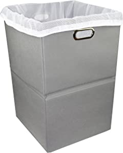 Premium Foldable Large Laundry Hamper with Laundry Bag - Durable Non-Woven Fabric, Anti-Mold Plastic Board, Extra-Large Size, Space-Saving & Compact Clothes Basket with Metal Handles (Gray)