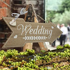 Rustic Wedding Decorations Theme - Wedding Directional Signs Decoration Stuff Supplies for Ceremony and Reception Rustic Vintage Decor Wood Sign Wooden Board Props for Wedding Shower