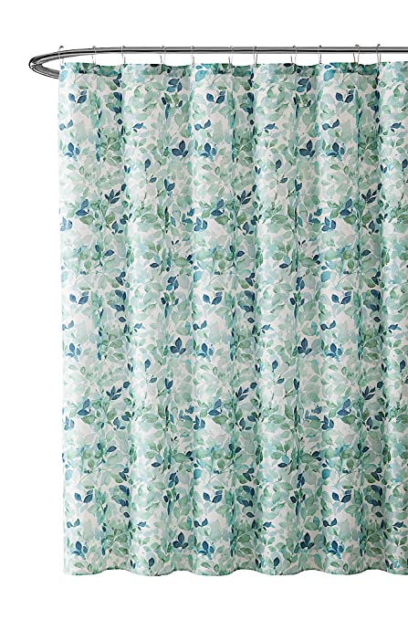 VCNY Home Bathroom Fabric Shower Curtain Lush Nature Green Blue Teal White Leaf Pattern On