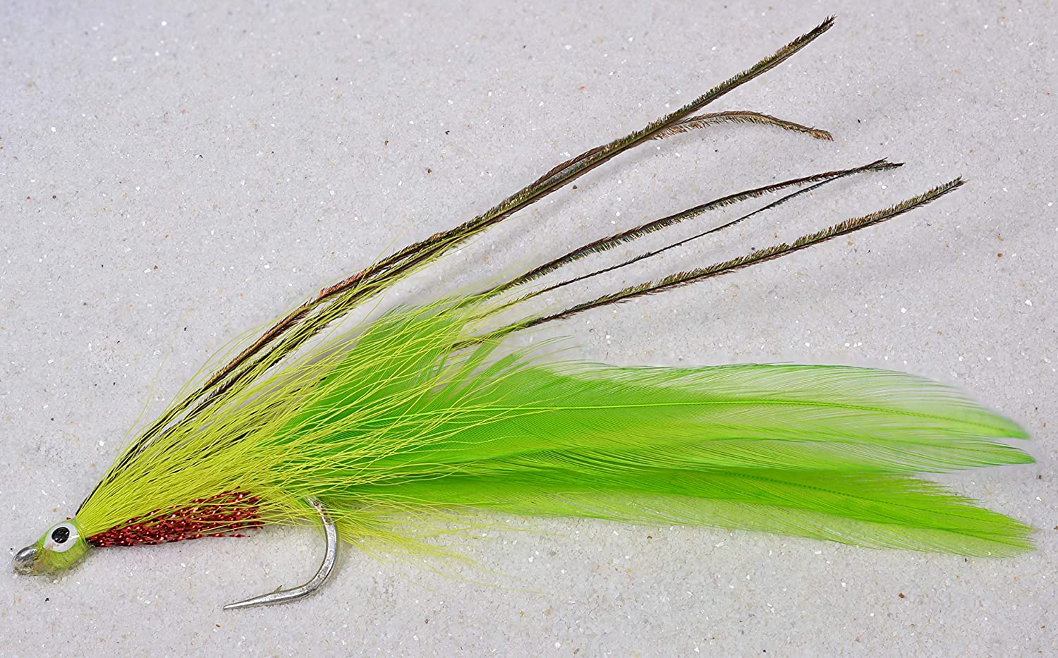 3 Saltwater LEFTY/'S DECEIVER GREEN//WHITE FISHING FLY ~ Size 2 ~ Three Flies