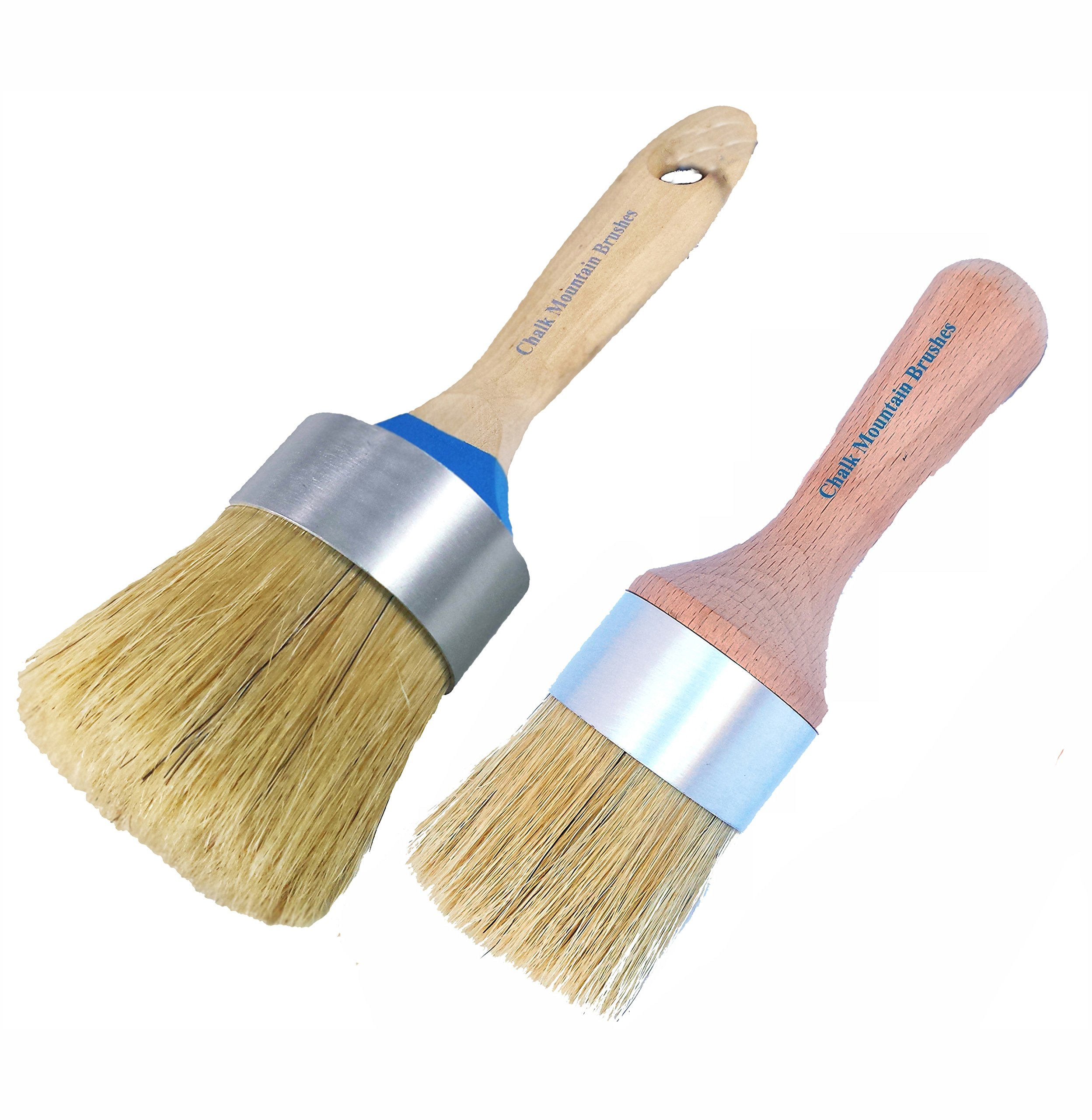 Chalk Mountain Brushes - 2 Pack Boar Hair Bristle Large Paint & Large Wax or Stenciling Brush Kit