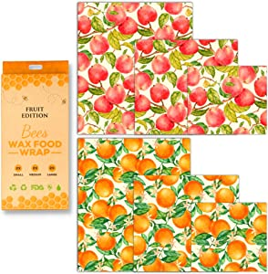 Beeswax Food Wrap Fruit Design, Pack of 6 Apple and Orange Printed Beeswax Wraps in 3 Sizes, All Natural and Reusable Food Wraps, Sustainable, Fresh Design Beeswax Wrappings.