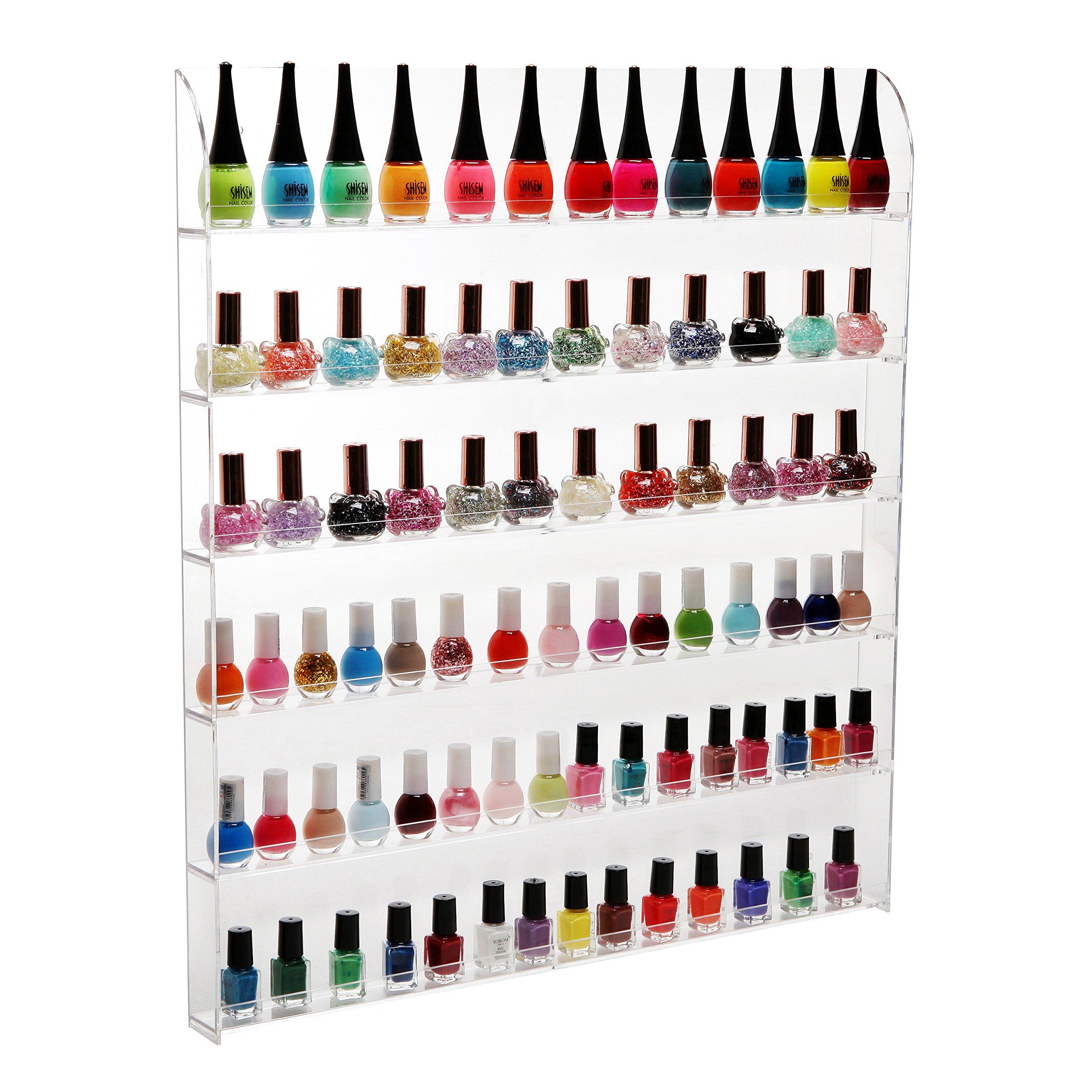 (102 Bottles) 6 Shelf Pro Clear Acrylic Nail Polish Rack / Salon Wall Mounted Organizer Display - MyGift