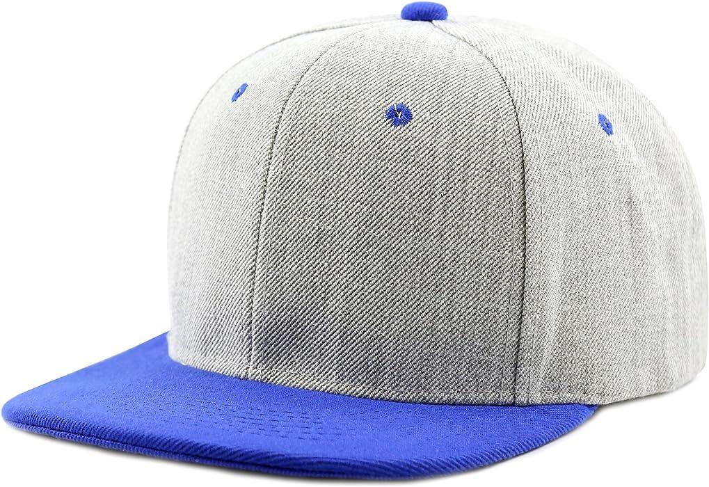 The Hat Depot 1300HG Plain Heather Grey Snapback Cap (Blue) at ... ab95905fdd