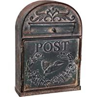 Antique Rustic Style Large Metal Post Mail Box, Weathered Green Finish, Wall Mounting Design, 9 x 13 Inches