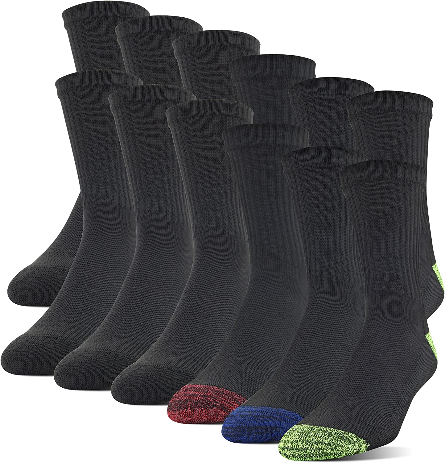 Gildan Men's Polyester Half Cushion Mid-Crew Socks, 12-Pack