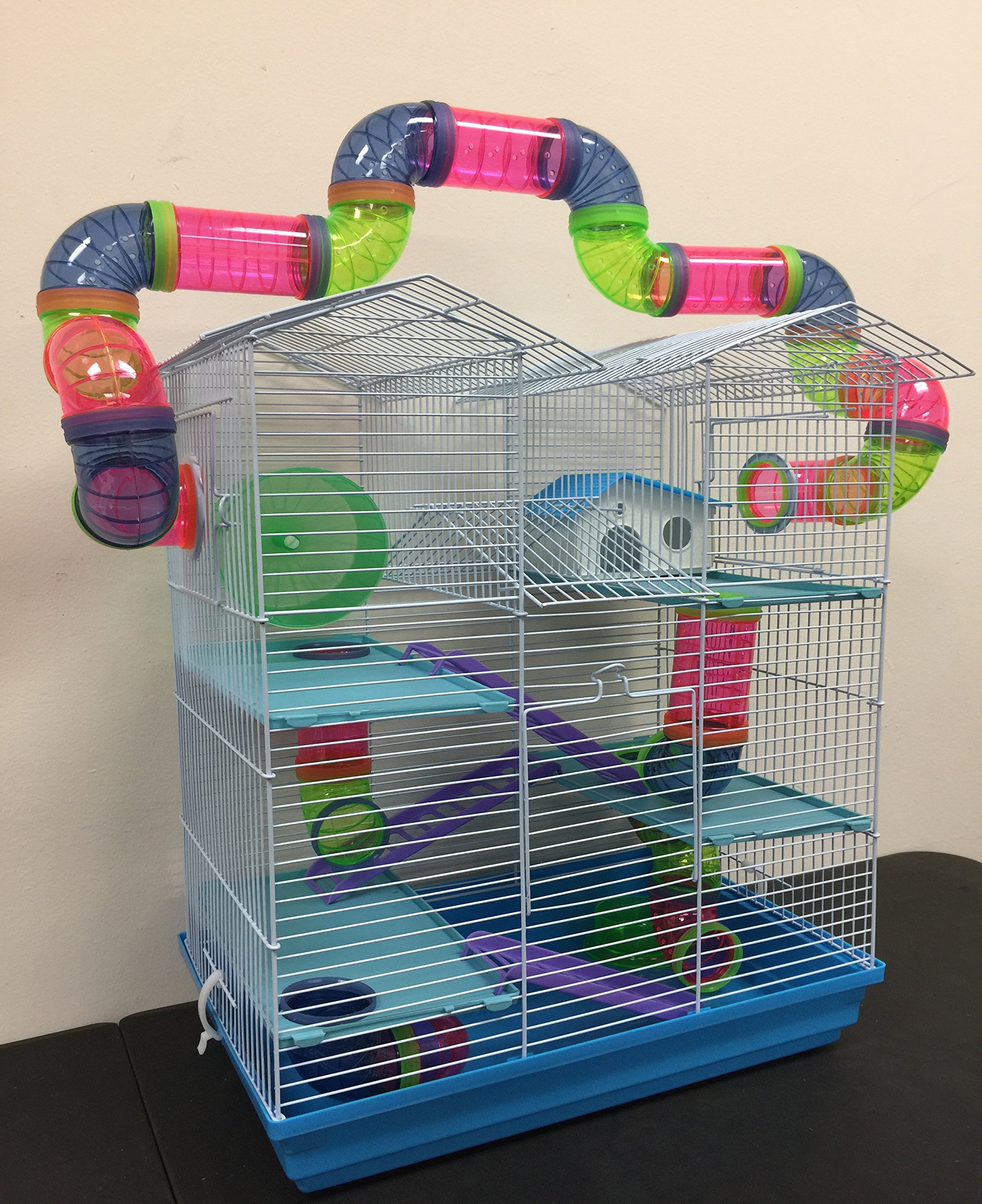 5 Level Large Cross Twin Tower Tube Tunnel Habitat Hamster Rodent Gerbil Mouse Mice Rat Cage (Blue)