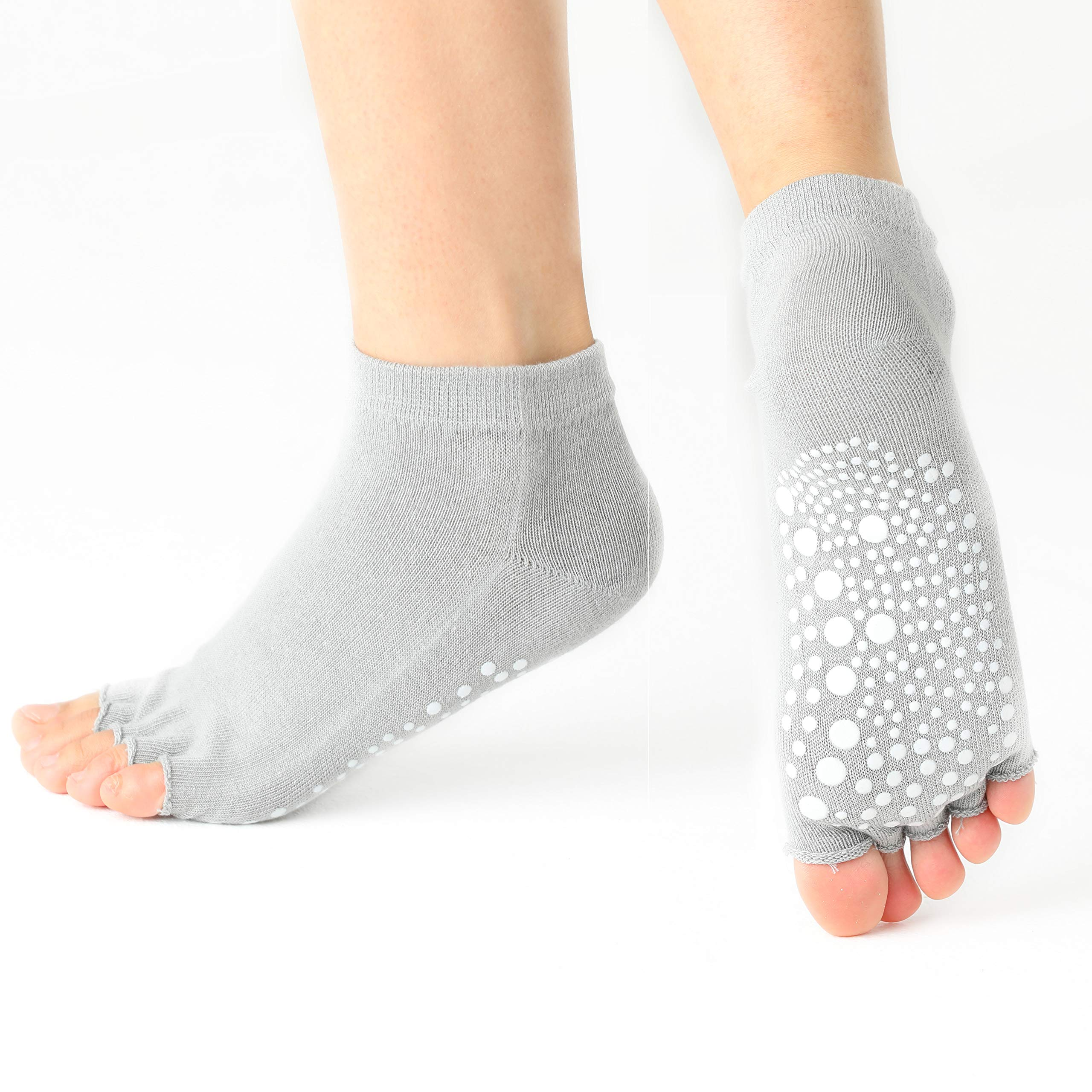 Yoga Socks for Extra Grip in Standard or Hot Yoga, Grey (3 Pair)