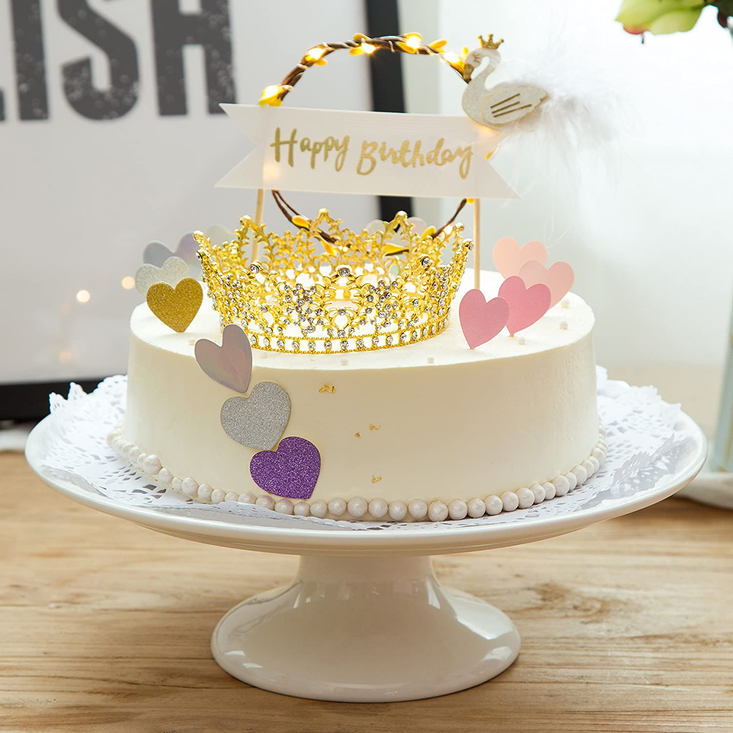 Amazon.com: CamingHG Rhinestone Cake Topper Crown Fancy Party Cake ...