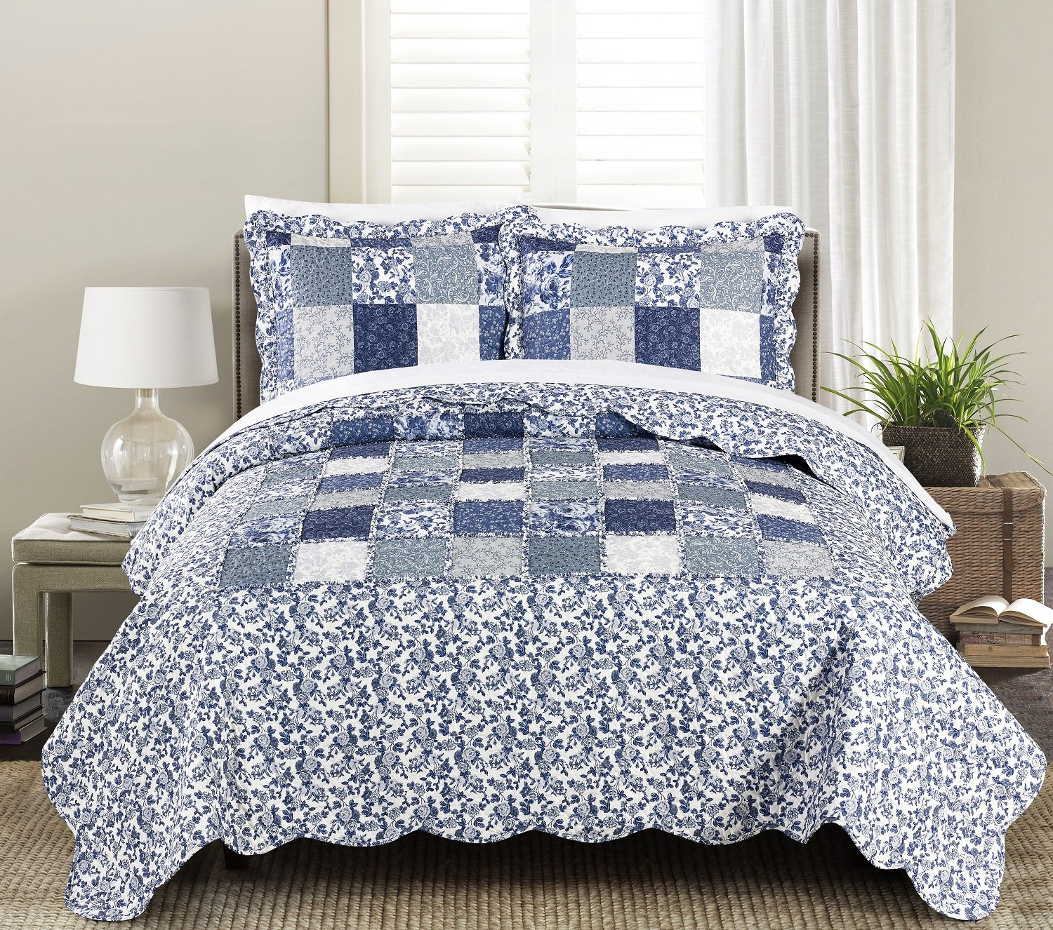 Blissful Living Luxury Ruffle Quilt Set Including Shams - Lightweight and Soft for all Seasons - Joyana Indigo - Full/Queen