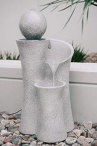 XBrand CR3617FTNA Cascading Sphere Floor Zen Water Fountain, Indoor Outdoor Décor, 36 Inch Tall, Natural Grey