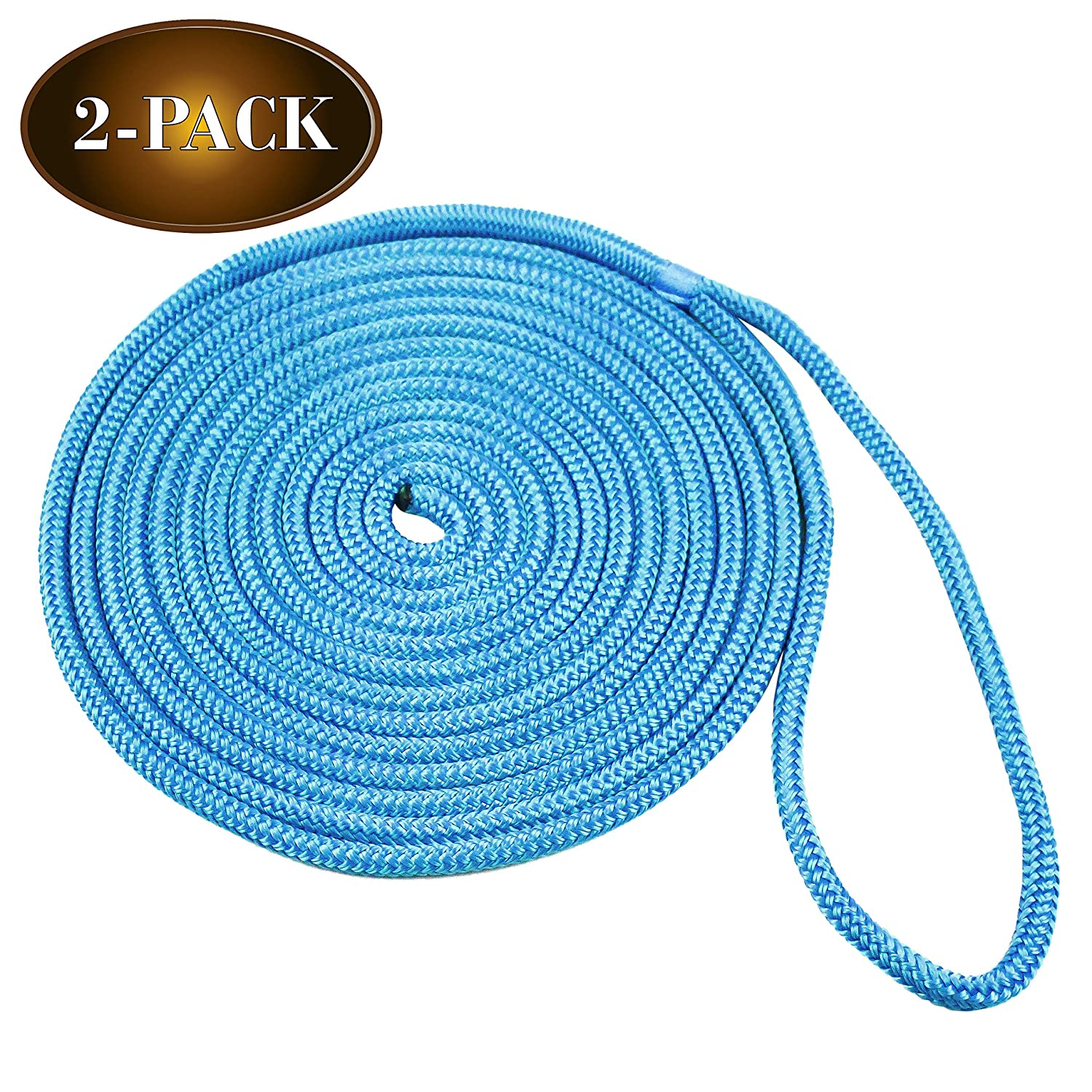 """1//2/"""" X 20/' Double-Braided Nylon Dock Line with 12/"""" Eyelet Dock Line for Boats DC Cargo Mall 2 Marine-Grade Double-Braided Dock Lines"""