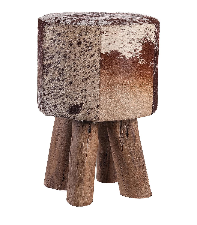 HomeStylist Fellhocker Holzfuss Holzfuss Holzfuss rund -Kuhfell, Braun Weiß, Sitzhocker aus echtem Stierfell gepaart mit Holzfüßen  fe6859