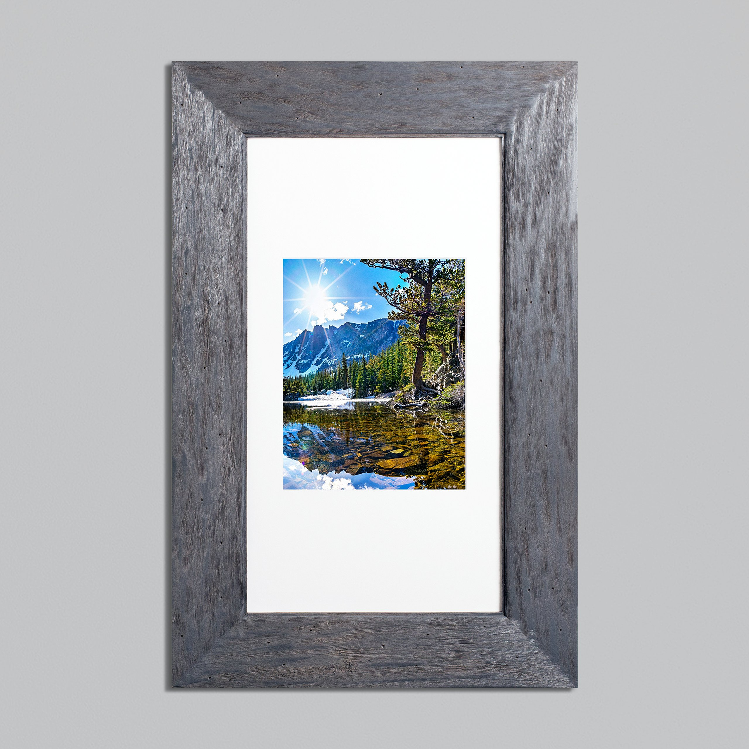 14x24 Rustic Gray Concealed Medicine Cabinet (Extra Large), a Recessed Mirrorless Medicine Cabinet with a Picture Frame Door by The Concealed Cabinet by iinnovators (Image #3)