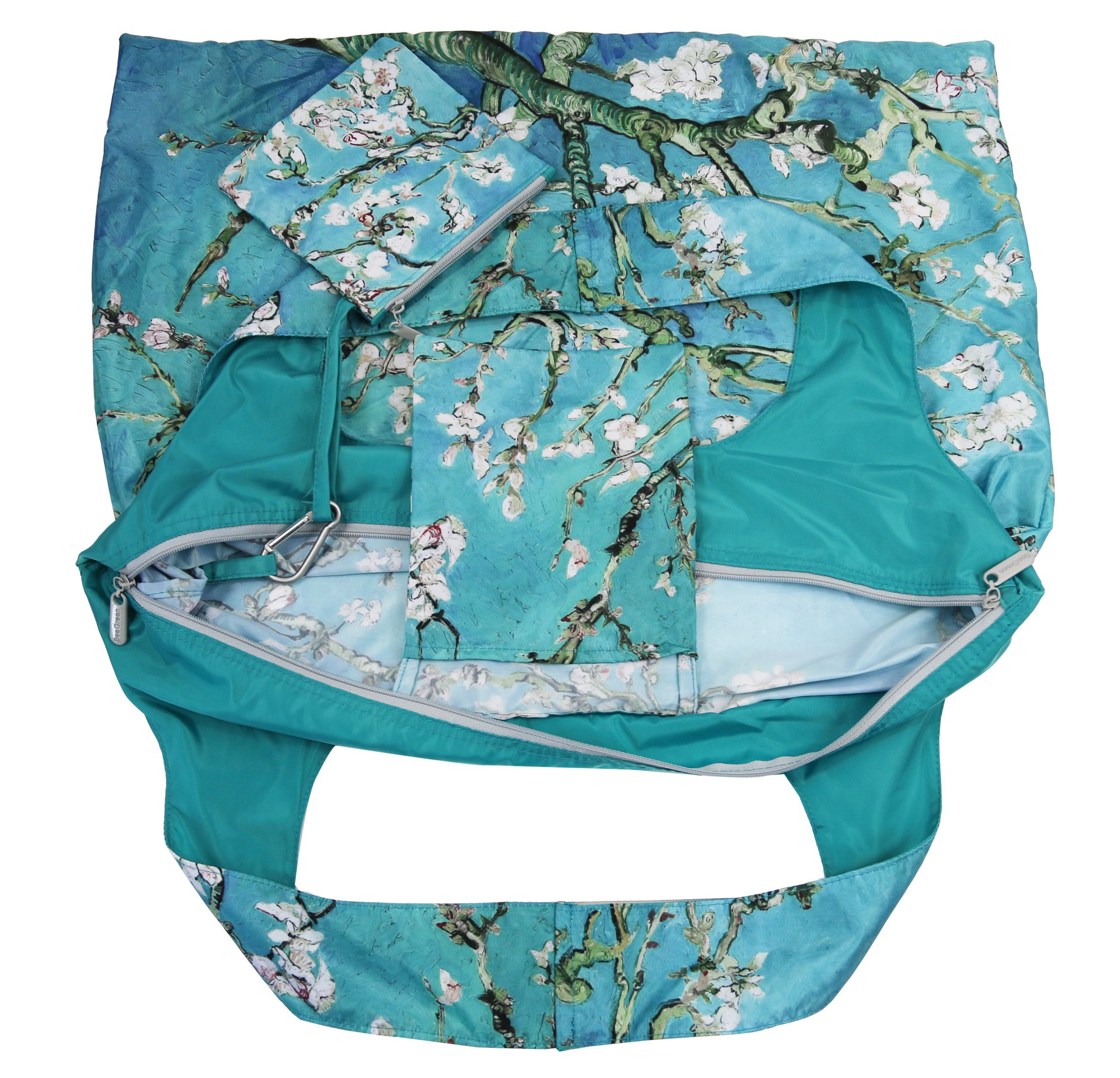 Reusable Grocery Bags with Zipper Closure,Foldable into Zippered Pocket … (Apricot tree) by BeeGreen (Image #6)