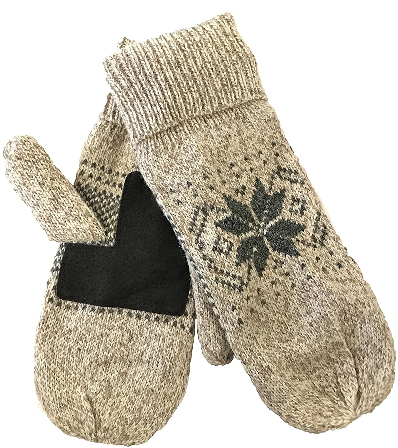 Mens Ragg Wool Mitten With Suede Gripper Palm & Fleece Lined Insulation