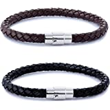FIBO STEEL 2PCS Stainless Steel Magnetic Clasp Braided Leather Bracelet for Men Women Wrist Cuff Bracelet 7.5-8.5 inches