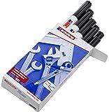 Edding Marqueur peinture encre permanente pour toutes surfaces Pointe moyenne Noir Lot de 10