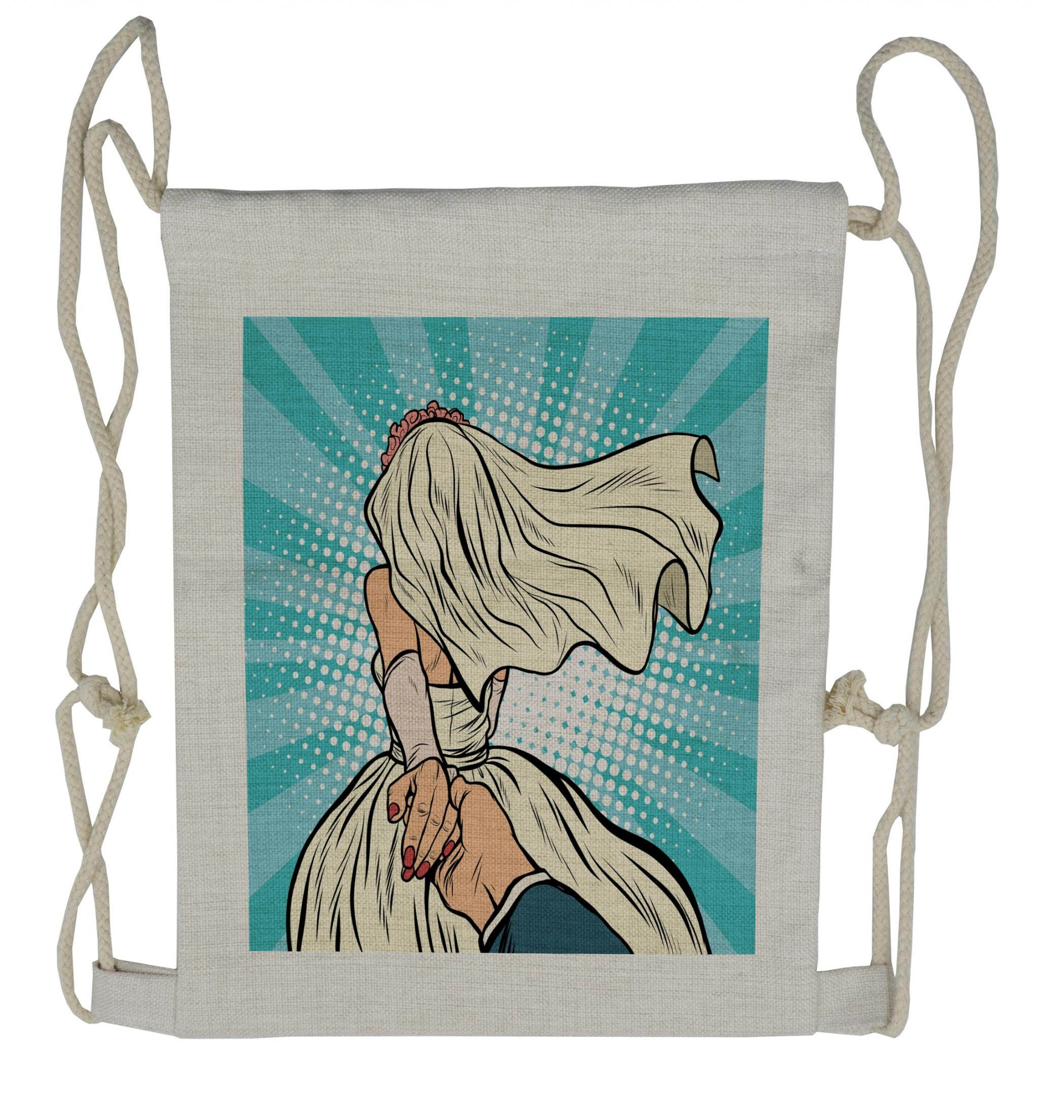 Lunarable Art Drawstring Backpack, Wedding Theme Bride and Groom, Sackpack Bag