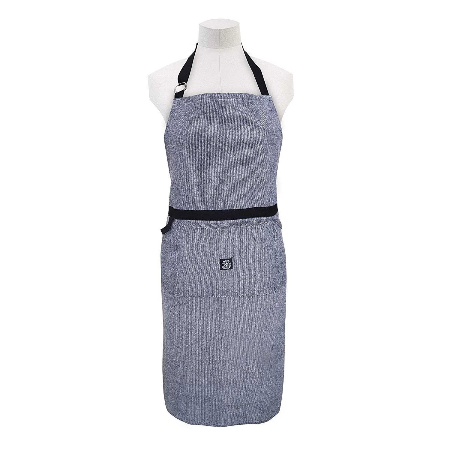 DAILY HOME ESSENTIALS Kitchen Chef Apron with Pockets and Adjustable Neck Strap For Men & Women. Heavy Duty Bib Aprons For Cooking, Grilling, Baking, Crafting, Gardening, BBQ & More (Chambray Black) Samy's Mart